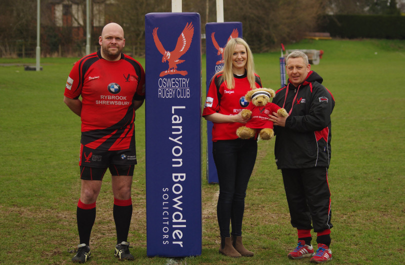 First team captain Andy Smith, Grainne Walters from Lanyon Bowdler, and director of rugby Gareth Barrett
