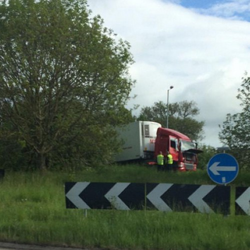 Lorry ends up in centre of A5 traffic island near Oswestry