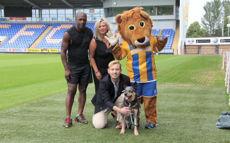 Shrewsbury Town legend Mickey Brown, Club Secretary Jayne Bebb and Lenny the Lion with organiser Adam Rickitt and Rufus