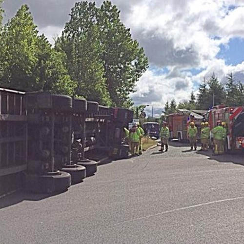 Motorists face delays as lorry carrying milk overturns in Telford