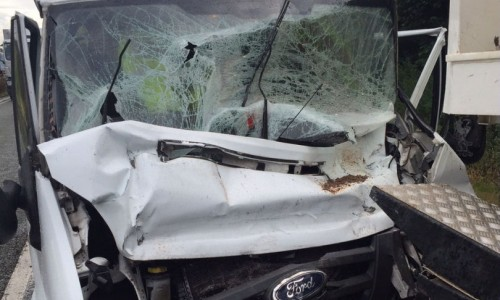 Van driver suffers serious injuries following A5 crash that caused massive damage