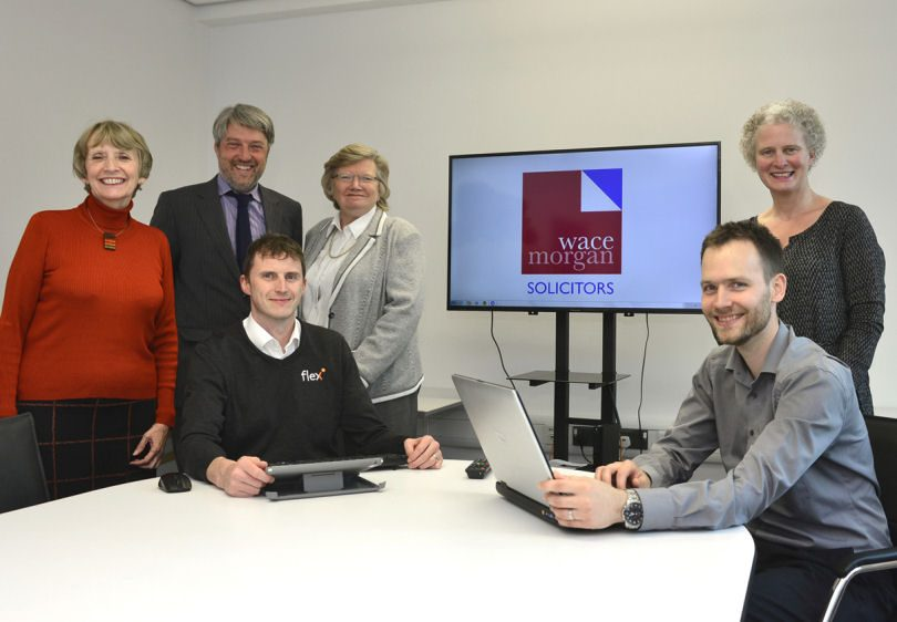 Adrian Key and Simon Davies, of Flex IT, with Wace Morgan partners, from left, Diana Packwood, Kier Hirst, Debby Gittins and Sallie-Anne O'Byrne
