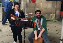 Musicians Bex and Olly performing at Shrewsbury's Big Busk