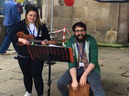 Musicians Bex and Olly performing at Shrewsbury's Big Busk