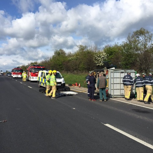 Trailer carrying cattle overturns on A5 eastbound in Shrewsbury