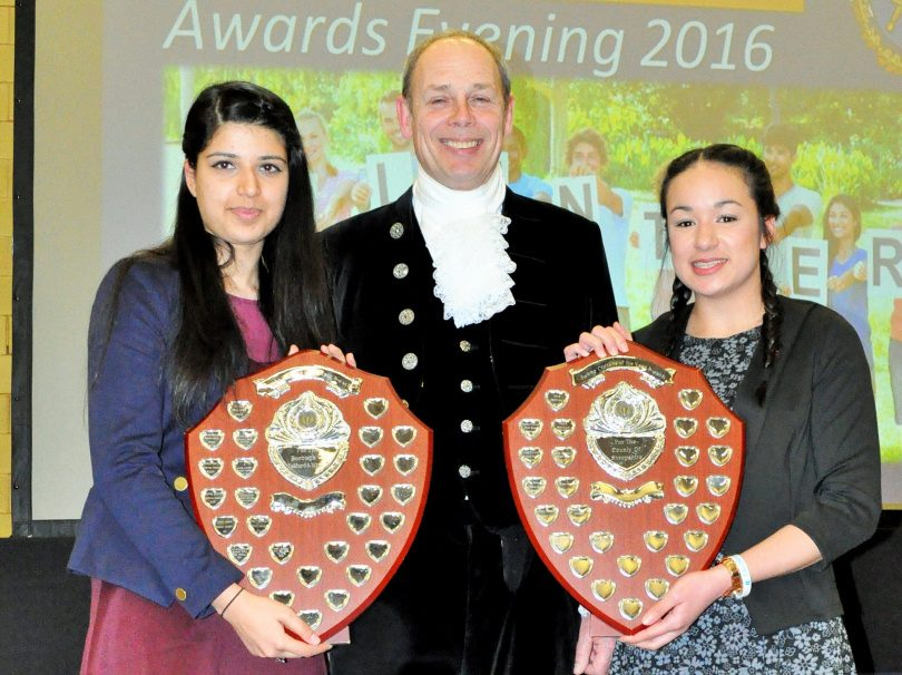 Amrit Sandhur and Sydnee March received their trophies from High Sheriff David Stacey