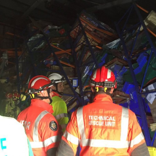 Worker rescued after warehouse racking collapses near Hinstock