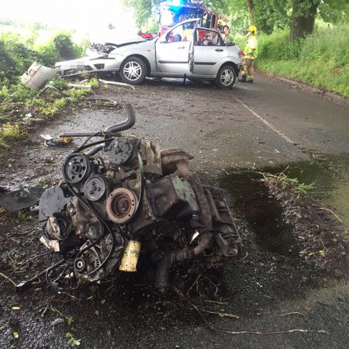 Driver airlifted after engine is thrown from car following collision in south Shropshire