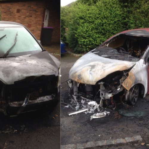 Police investigate fire which extensively damaged two cars in Telford