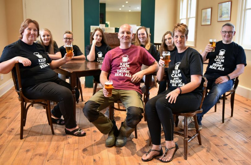 Alison Taylor, Alice Thompson, Archie Thompson, Millie Thompson, Craig Taylor, Pollyanna Taylor, Chloe Taylor, Emma Thompson and Paul Thompson at the new micro pub