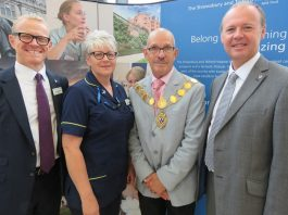 Trust Chair Professor Peter Latchford; Karen Breese, Clinical Nurse Specialist for Dementia; former Mayor of Shrewsbury Ioan Jones; and Trust Chief Executive Simon Wright at the launch