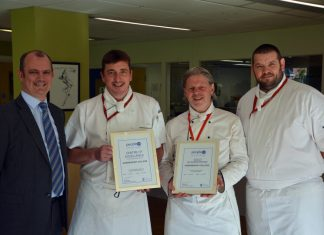 Andy Doyle, Steve Poole, Mark Johnson and Daniel Gibbons with the award certificates