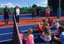 LTA president Cathie Sabin talks to youngsters at Market Drayton Tennis Club during her official visit home to Shropshire