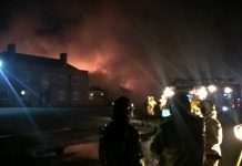 Firefighters at the scene of the fire in Shawbury. Photo: @SFRS_NGriffiths