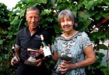 Geoff and June Ferguson with some of the awards won by Kerry Vale Vineyard