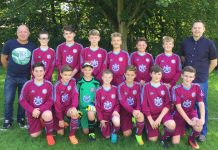 Ercall Colts u-13s in their new kit sponsored by Buckatree Hall Hotel. On the left, coach Nick Guy, and on the right hotel general manager Wayne Jenson