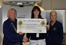 John Marsh (President of Ironbridge Lions), Louise Killey (Lingen Davies unit Radiotherapy Manager), Jill Marsh (Treasurer of Ironbridge Lions)
