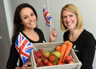 Gayle Parker and Lorna McCann from family-run business Purition help local primary pupils celebrate Love British Food Fortnight