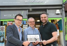 Verve managing director Julian Smout with John Hall of Write Here and Verve technical director Mark Hambley