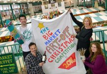 Stallholders Matt Daw, Robin Nugent, Rosie Read and Julia Viani launch Shrewsbury Market Hall's Big Market Art-Off