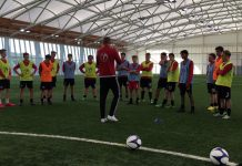 Students from the Crossbar Football Performance Academy enjoy a training session with Gavin Cowan at St George's Park, the FA's National Football Centre