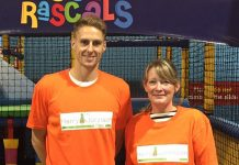 Wales international footballer Dave Edwards, the new patron of the Harry Johnson Trust, with Sally Johnson