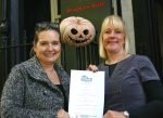 Sharon Huxley, owner, Drapers Hall and Helen Knight, fundraising manager, Macmillan Cancer Support Shropshire