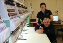 Ian and Angie Roome, Sewprint with new embroidery machine