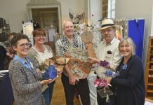 Pictured at Ludlow craft show, from left, Caroline Bennett, Jane Shelton , Nicolas Marsh, Brian Maiden and textile designer-maker Nicola Haigh, of Orleton, near Ludlow