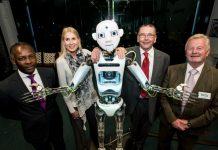 Floyd Millen, Katherine Kynaston, Noris the Robot, John Gallagher and Paul Hinkins.