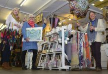 Pictured from left, Lou Penny of Thoughts in the market hall, Linda Edwards and Nigel Elliott of Sunny Side Art