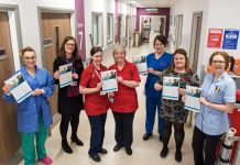 Jo Biffin, Theatre Nurse Specialist; Tina Powell, HR Operations Manager; Sara Ellis, Matron; Mandy Bride, Matron; Lowri Mansell, HDU Manager; Rosie Radford, HR Administrator; Philippa Page-Davies, Staff Nurse