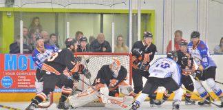Ondrej Raszka makes a save for Telford Tigers. Photo: Steve Brodie