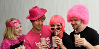 Lorna McCann, Brad Frost, Gayle Parker and Alastair Heath from the Purition team go pink for Breast Cancer Awareness Month