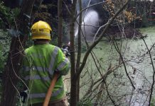 Firefighters are tackling the deep seated difficult to access fire off Haywood Lane near Cheswardine. Photo: @SFRS_MDrayton