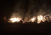 The fire involved 200 bales of straw. Photo: @SFRS_MDrayton