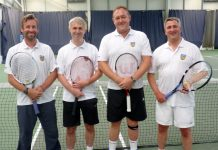 Happy members of Shropshire's over-45s men's tennis team, from left, Simon Bird, Pete Gillespie, Simon Jones and Robin Morris are looking forward to life in division one of the Aegon County Championship next year