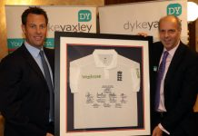 Marcus Trescothick and Dyke Yaxley Managing Director Laurie Riley at the fundraising dinner
