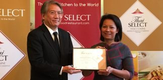 Chef Suree Coates Collects her award from the Thai Ambassador at the Thai Embassy, London