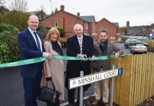 James Wood Co-Founder of Saxonby, Beryl Minshall, Albert Minshall and David Williams, Housing Executive for The Wrekin Housing Trust
