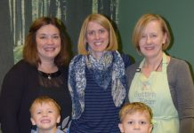 Author Lorna McCann and her two sons Lucas and Finn are joined by Sue Miller, founder of Team Author UK, and Louise Chadwick, owner of Button and Bear, at Saturday's book launch of Wendy and the Biscuit Tree