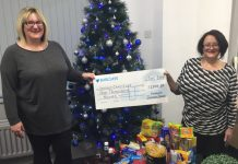 Nina Evans and Elsa Mackay from Henshalls with the charity donations