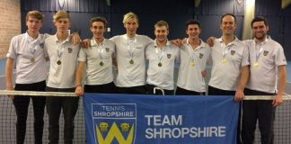 Shropshire's delighted men's team celebrate promotion to division five of the Aegon Winter County Cup, from left: Matt Jones, Sam Chapman, Ed Gibbs, Luke Henley, Alex Parry (captain), Matt Lee, Hugh Jaques and Richard Tennant