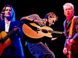 Steve Knightley, Martyn Joseph and Tom Robinson who will reform for a one-off reunion of Faith, Folk and Anarchy at Shrewsbury Folk Festival this August