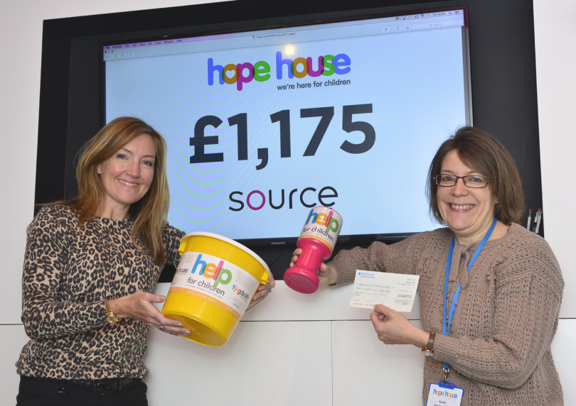 An off the wall donation from Sally Tringham (LEFT) of Source, to Sarah Johnson, of Hope House