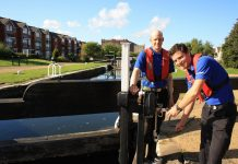 Volunteer lock keepers Lee Cox and Mark McCumsekey