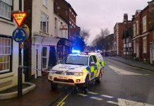 The scene of the incident on Shropshire Street in Market Drayton. Photo: @MDraytonCops