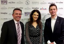 Dave Courteen, left, the managing director of The Shrewsbury Club, with guest speakers Annabel Croft and Sam Richardson