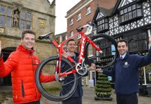 Preparing for Shrewsbury Cycle Grand Prix are (from left) Sam Blackbourn, sales manager of main sponsor Stan's Cycles – Trek Concept, Store organiser and sponsor Chris Pook from Cooper Green Pooks and sponsor Ed Glover, Salop Leisure's marketing manager