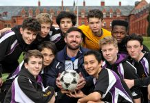 Jon Macken with Ellesmere College football players